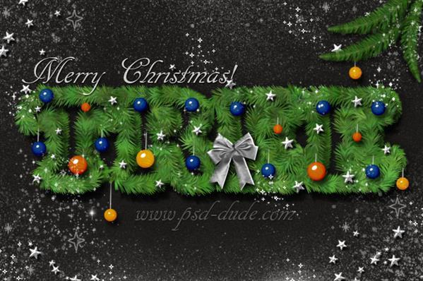 Christmas Tree Font Photoshop Text Effect Tutorial