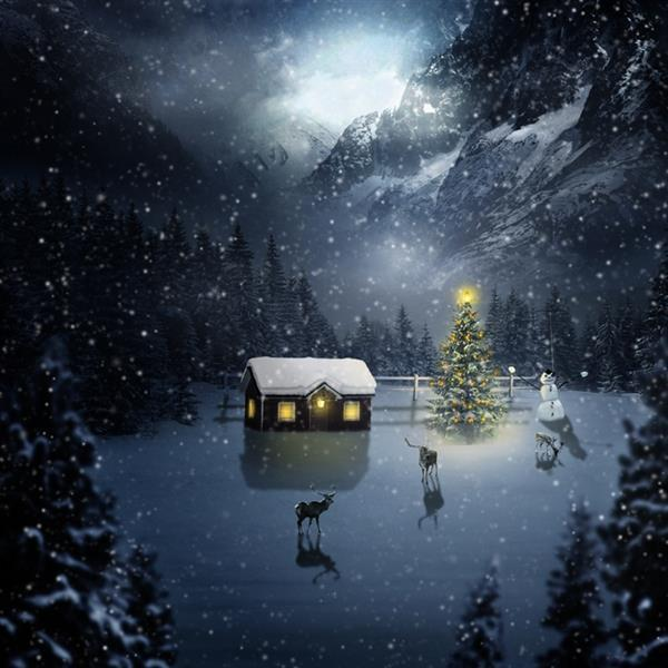 Beautiful Christmas Image Of A Night Scene in Photoshop