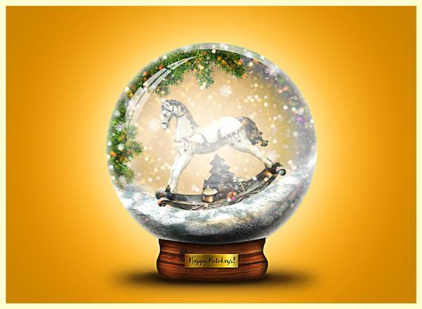 Create A Snow Globe Christmas Card Picture In Photoshop