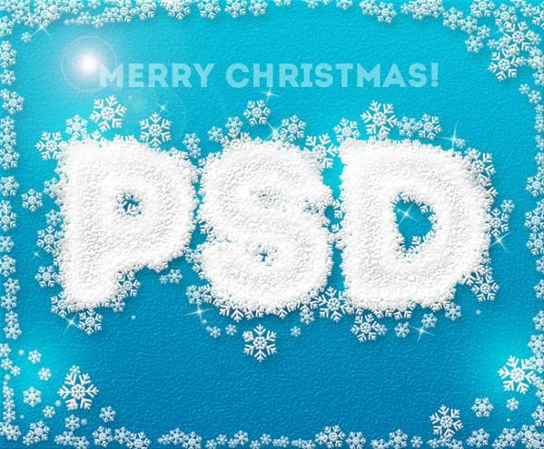 Create an Icy Text with snowflakes in photoshop