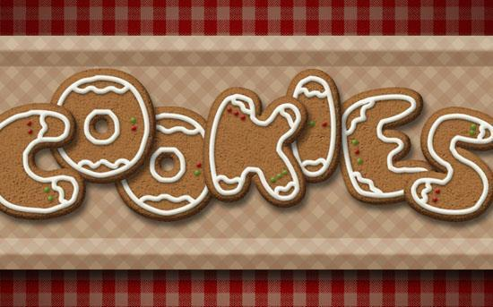Gingerbread cookies text effect in Photoshop