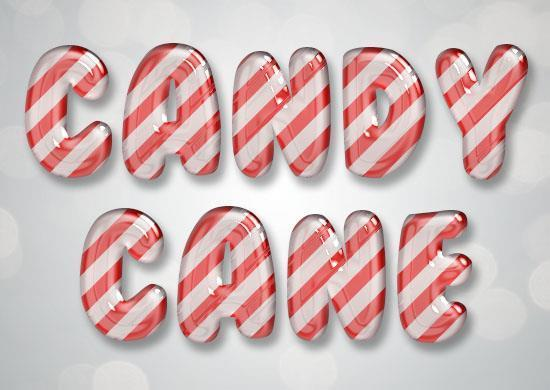 Glossy candy cane text effect in Photoshop