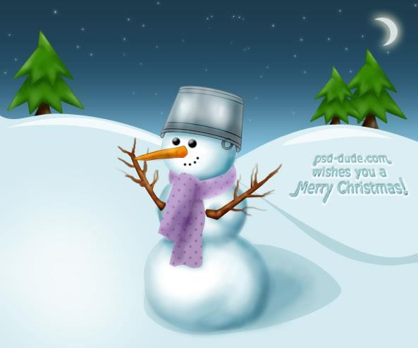 Snowman christmas card Photoshop Tutorial