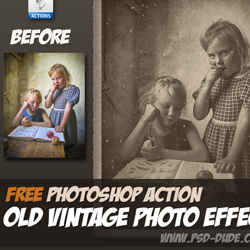 Old Vintage Photo Effect Photoshop Free Action psd-dude.com Resources