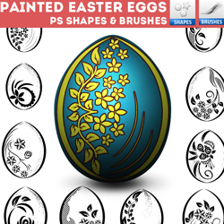 Painted Easter Egg Photoshop Shapes and Brushes psd-dude.com Resources