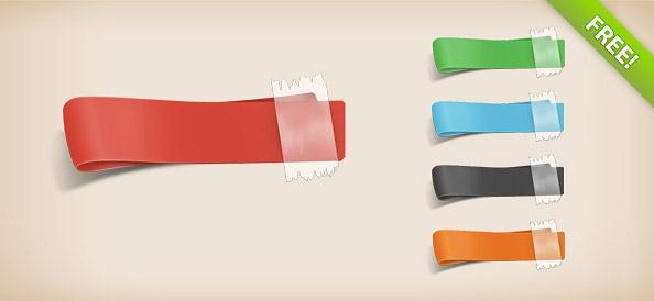 4 free psd ribbon Photoshop templates