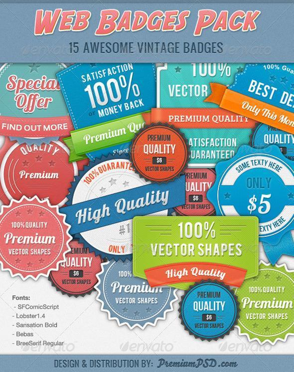 Badge and Ribbon Vector Layered PSD