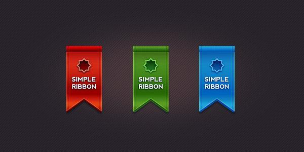 Clean Ribbon in 3 colors psd