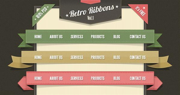 Retro Vintage Ribbons PSD Web Elements Pack