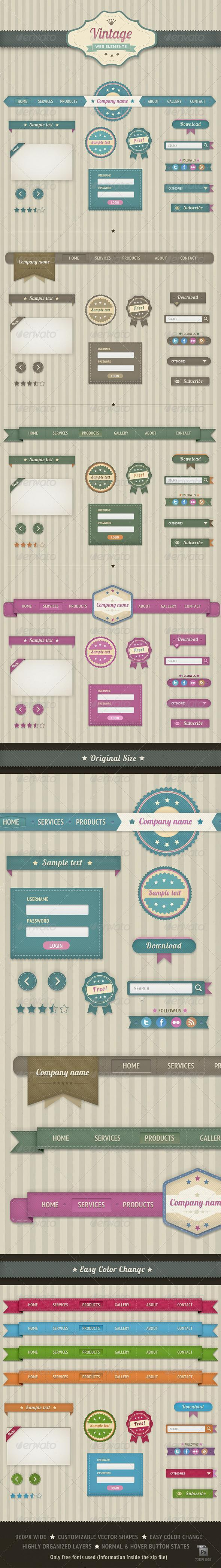 Vintage Web Elements Layered PSD