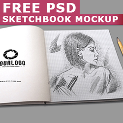Sketchbook Mockup with Realistic Pencil Sketch Photoshop Effect psd-dude.com Resources