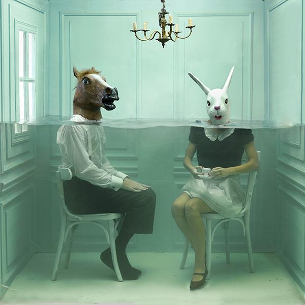 Horse And Rabbit Headed Persons Underwater In Small Room Photoshop Manipulation