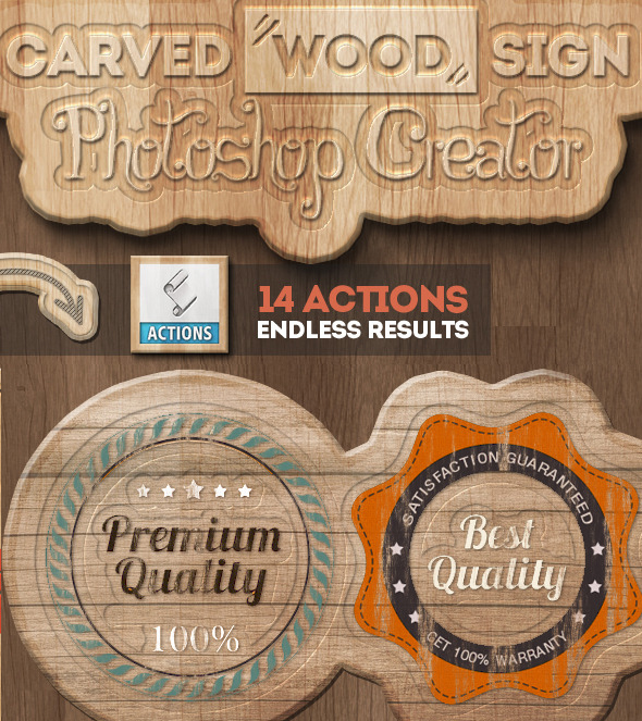Carved Wood Sign Photoshop Creator