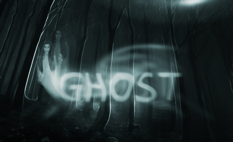 Spooky ghost text effect with the ghost of a girl on a forrest background Photoshop tutorial.