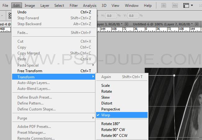 Photoshop Transform Warp Tool