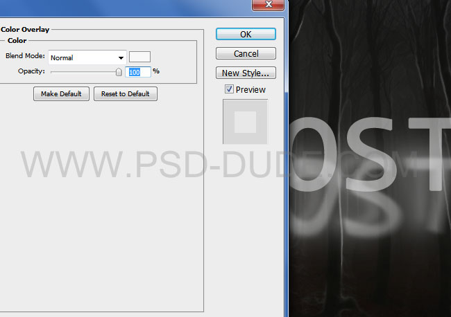 Spoooky Photoshop text effects extra layers Color Overlay layer style settings