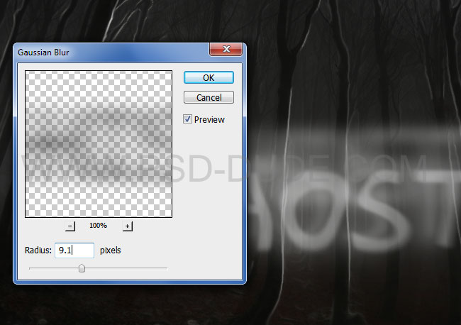 Spoooky Photoshop text effects extra layers Gaussian Blur filter