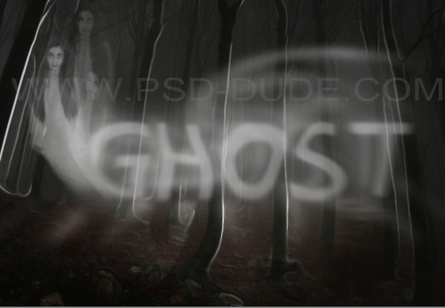 Spooky ghost in forrest with ghost text effect made in Photoshop