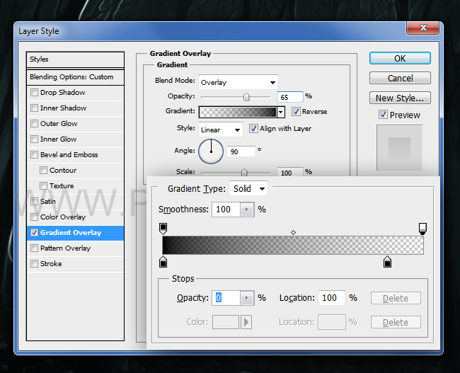 Gradient overlay settings for the Photoshop layer style