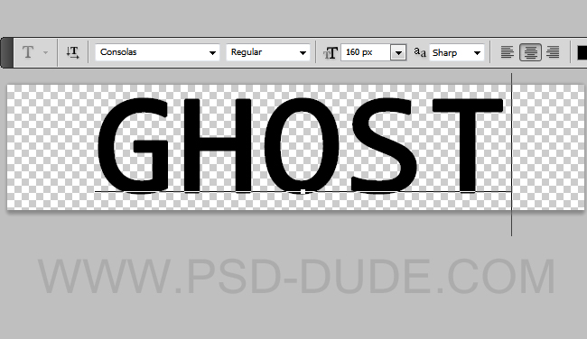 Ghost text Photoshop layer using Consolas font type